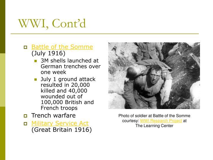 WWI, Cont'd