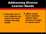 addressing diverse learner needs