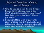 adjusted questions varying journal prompts