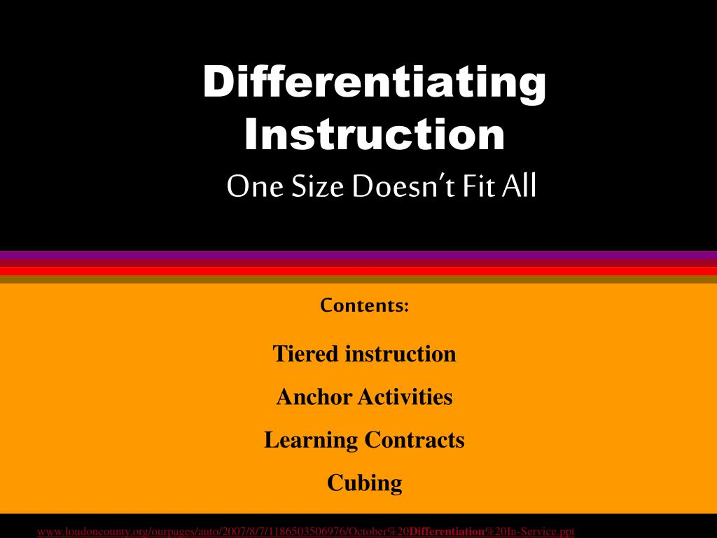 Ppt Differentiating Instruction One Size Doesnt Fit All
