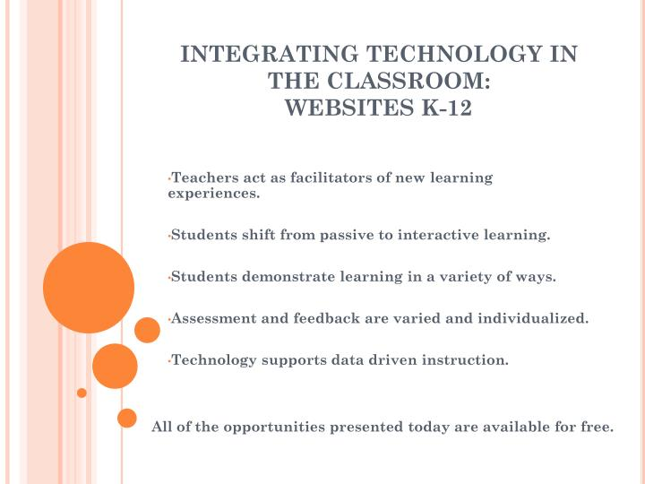 Integrating technology in the classroom websites k 121