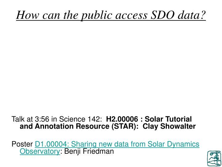 How can the public access SDO data?