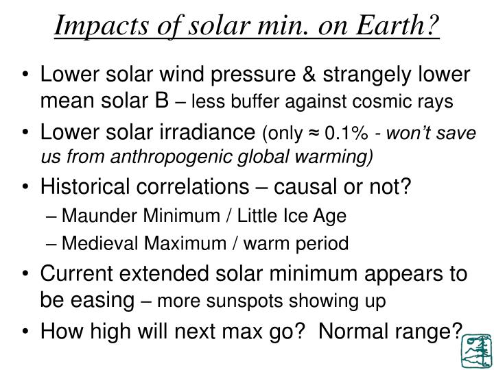 Impacts of solar min. on Earth?