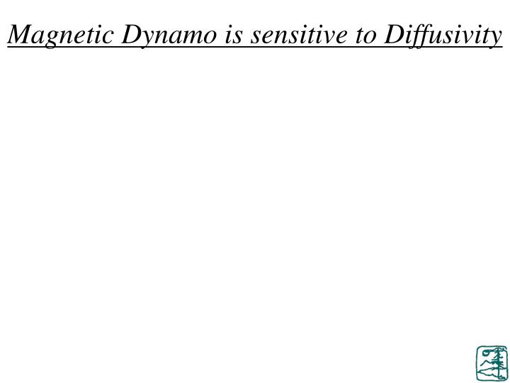 Magnetic Dynamo is sensitive to Diffusivity