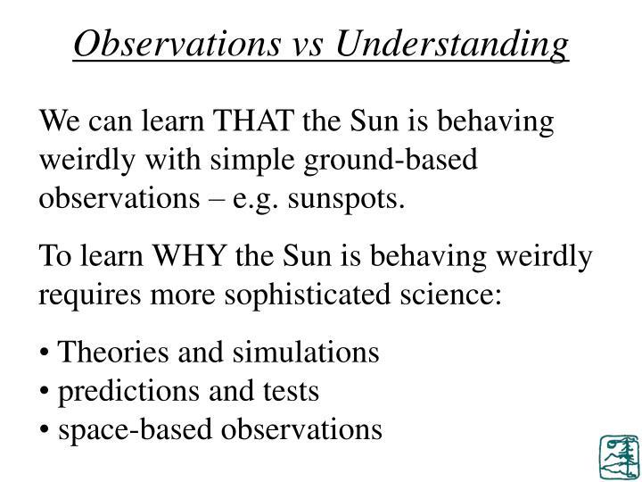 Observations vs Understanding