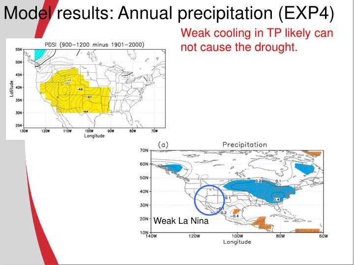 Model results: Annual precipitation (EXP4)