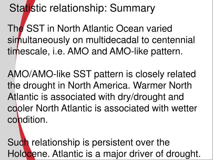 Statistic relationship: Summary