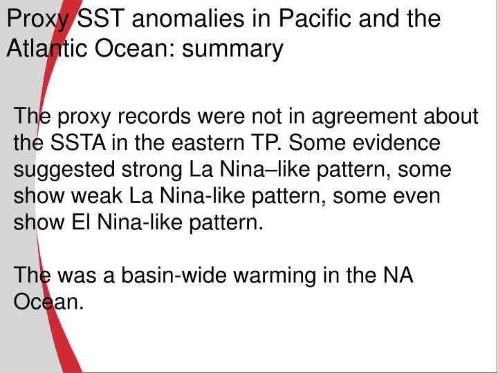 Proxy SST anomalies in Pacific and the Atlantic Ocean: summary