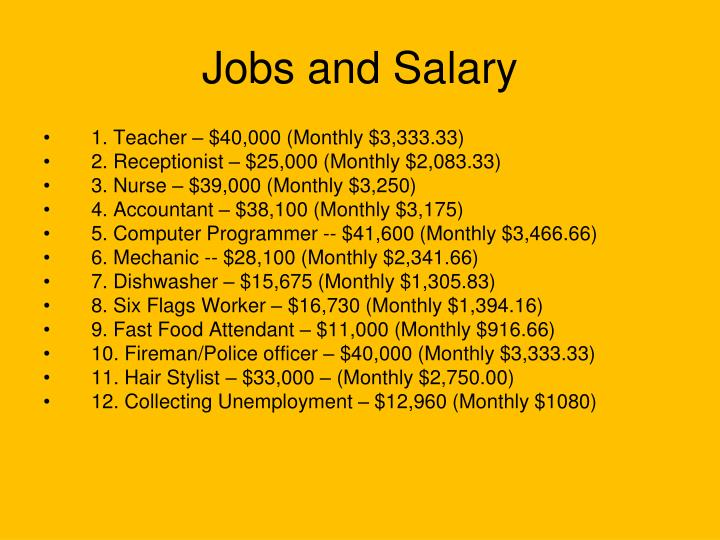 Jobs and Salary