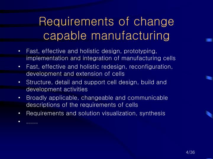 Requirements of change capable manufacturing