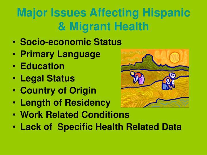 Major issues affecting hispanic migrant health