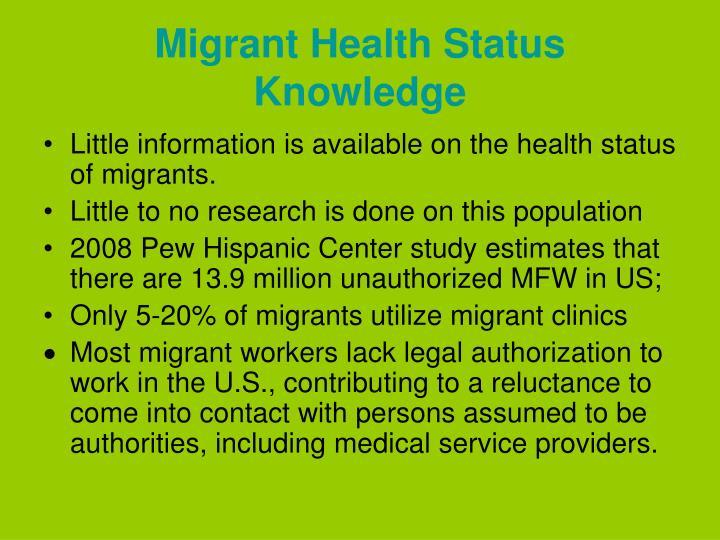 Migrant Health Status Knowledge