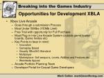 opportunities for development xbla