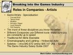 roles in companies artists