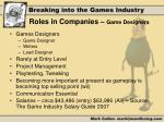 roles in companies game designers