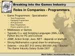 roles in companies programmers