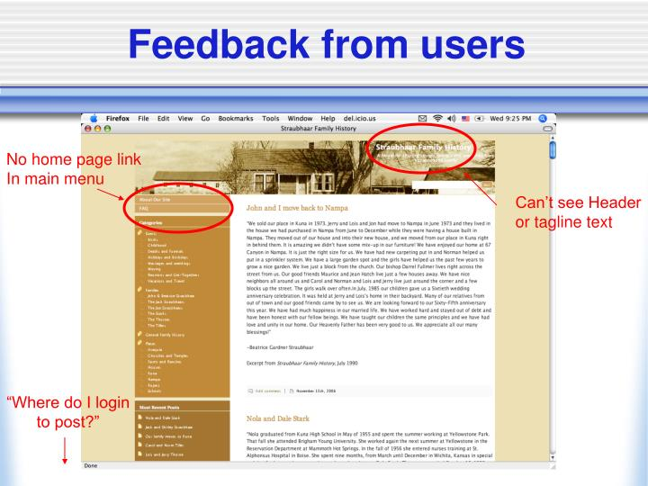 Feedback from users