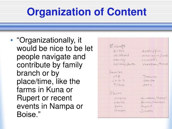 Organization of Content