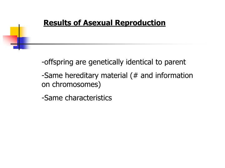 Results of Asexual Reproduction