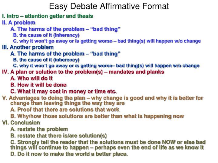 Easy Debate Affirmative Format