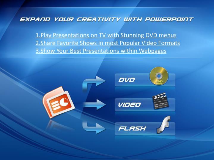 1.Play Presentations on TV with Stunning DVD menus