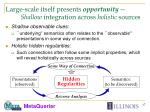 large scale itself presents opportunity shallow integration across holistic sources