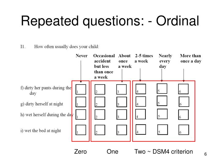 Repeated questions: - Ordinal