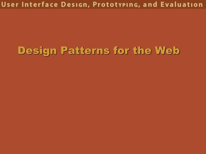 design patterns for the web n.