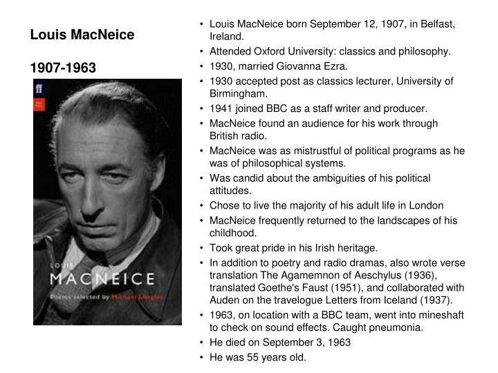 Louis macneice 1907 1963