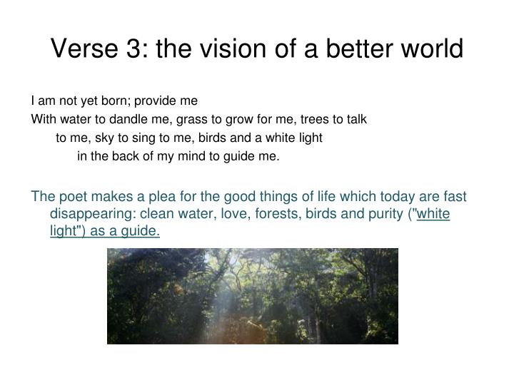 Verse 3: the vision of a better world