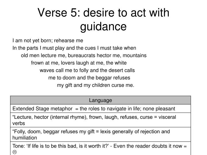 Verse 5: desire to act with guidance