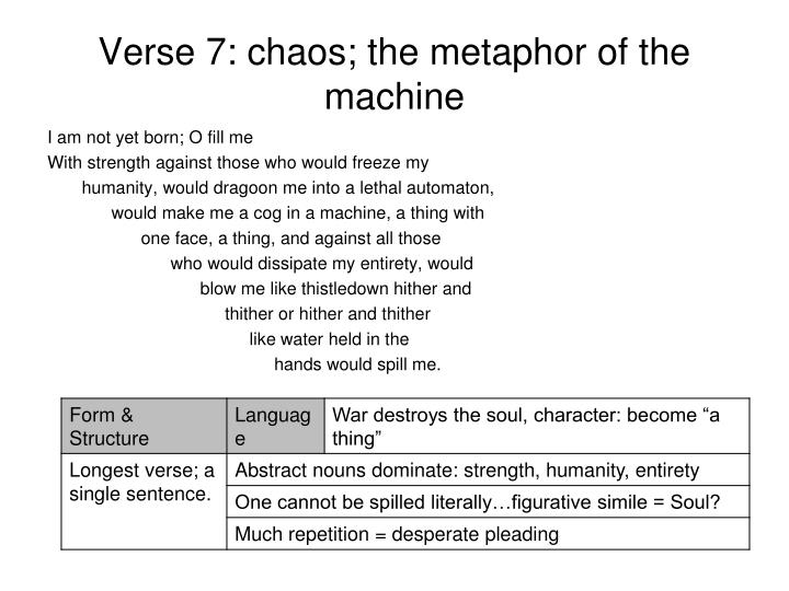 Verse 7: chaos; the metaphor of the machine