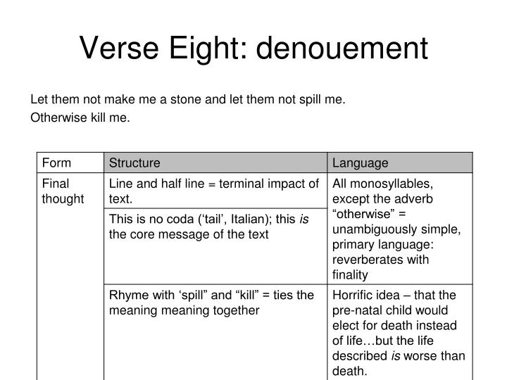 Verse Eight: denouement