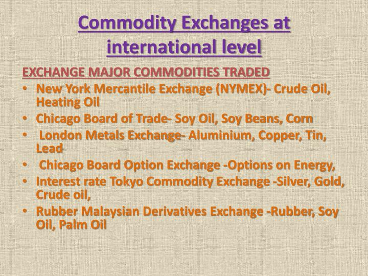 Commodity Exchanges at international level