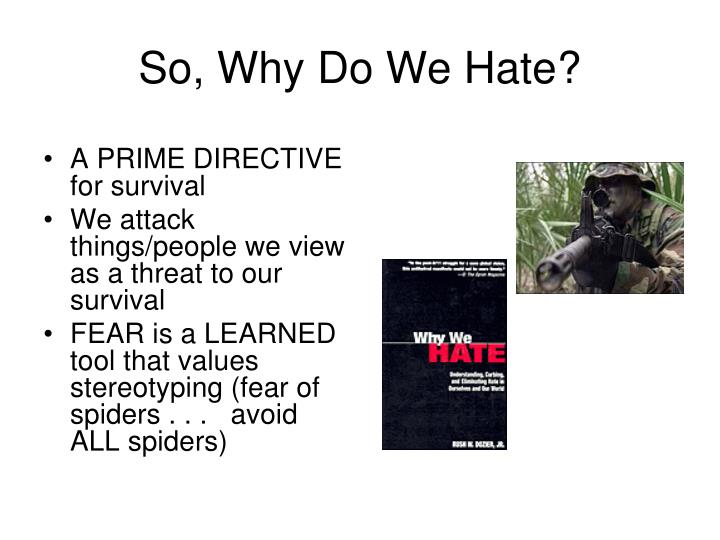 So, Why Do We Hate?