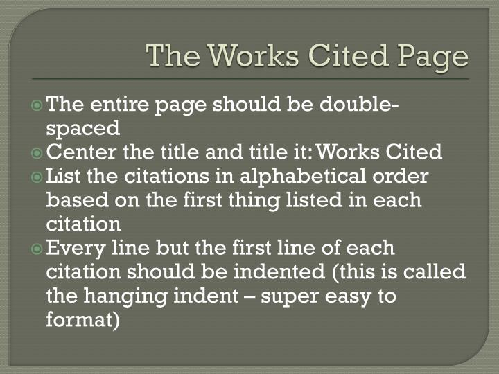 The Works Cited Page