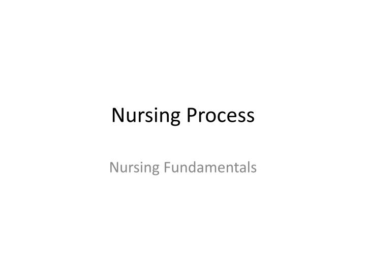 nursing process n.