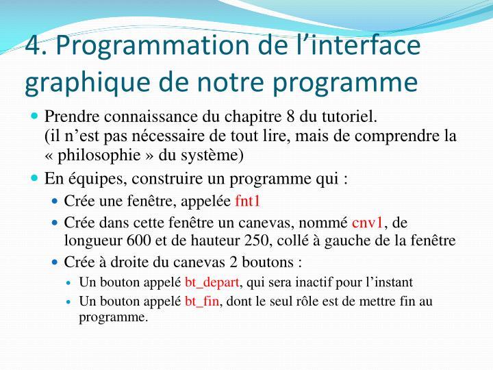 4. Programmation de l'interface graphique de notre programme