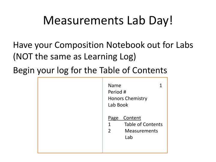 Measurements Lab Day!