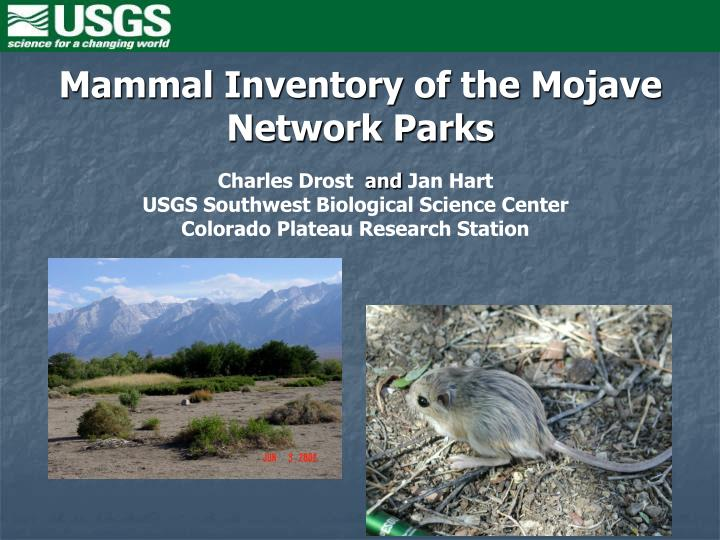 Mammal inventory of the mojave network parks