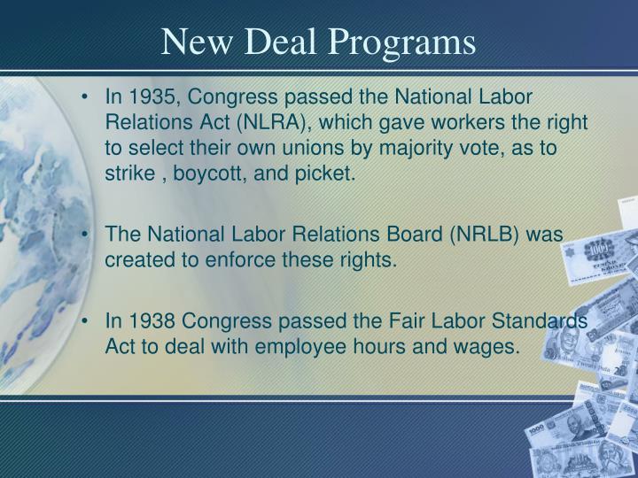 New deal programs