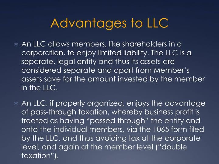 Advantages to LLC