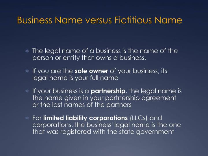 Business Name versus Fictitious Name