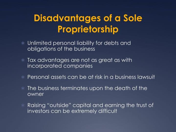 Disadvantages of a Sole Proprietorship