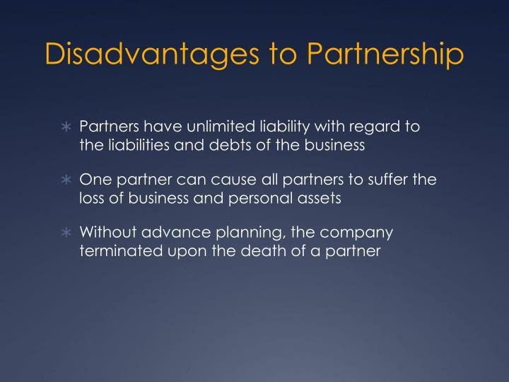 Disadvantages to Partnership