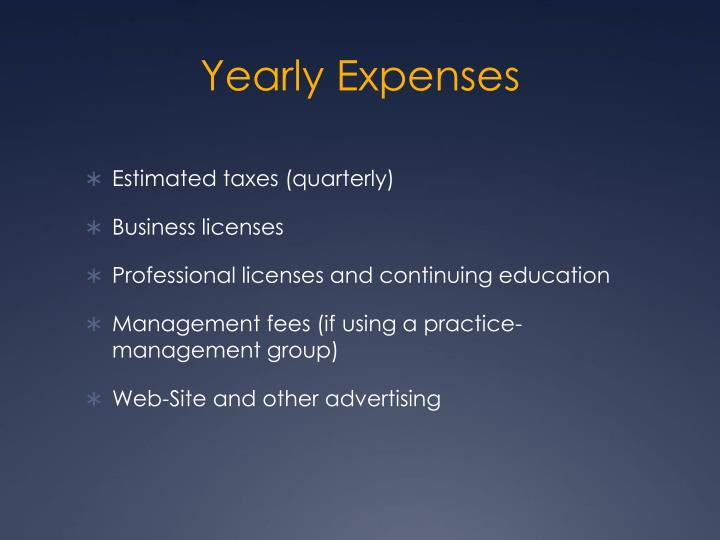 Yearly Expenses