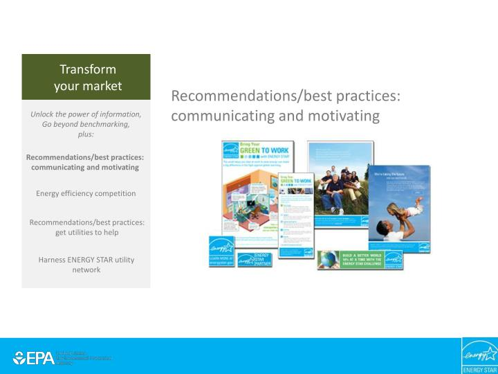 Recommendations/best practices: communicating and motivating