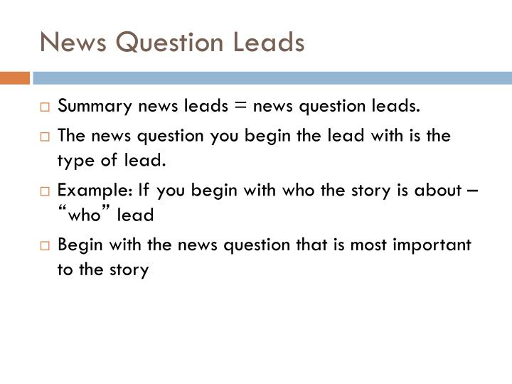News Question Leads