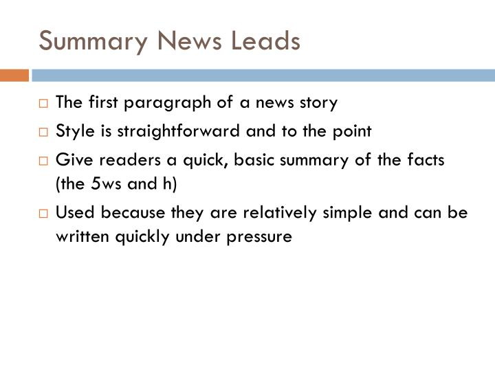 Summary news leads