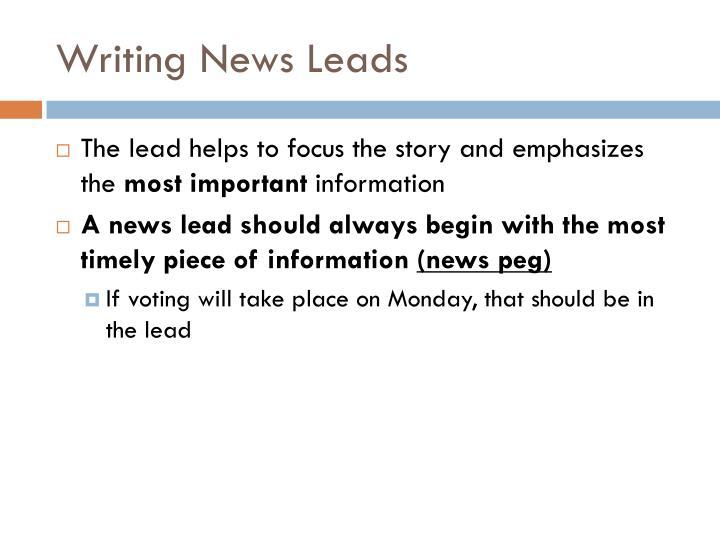 Writing News Leads